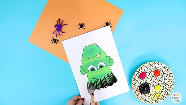 Arty Crafty Kids | Fork Painted Monster Hair - Halloween Crafts for Kids. Children can complete the monster templates (available in colour and black & white) using different painting techniques.