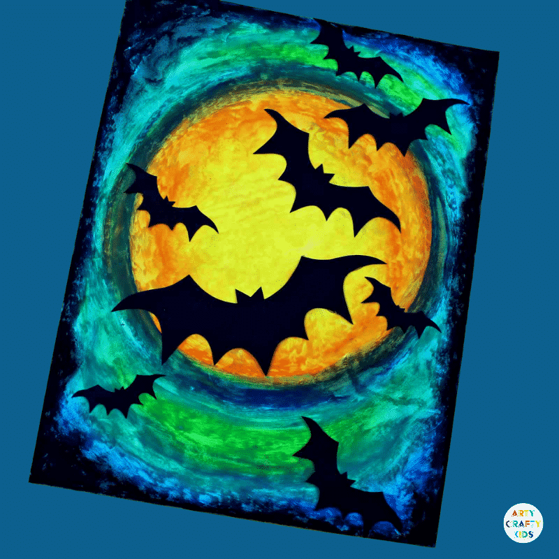 Arty Crafty Kids | Oil Pastel Bat Silhouette Art