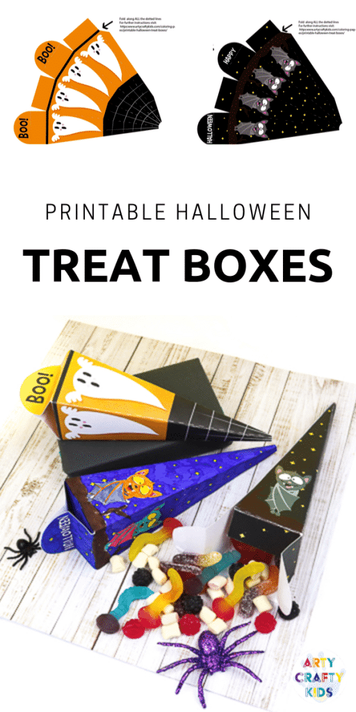 Arty Crafty Kids | Printable Halloween Treat Boxes for Kids to color and make.