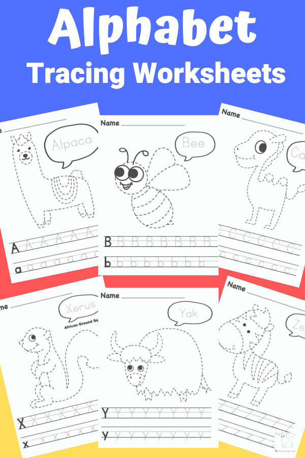 Make learning the alphabet fun with these printable A-Z Alphabet Worksheets; complete with letter tracing and animal tracing to keep children engaged! Perfect for preschoolers, kindergarten and early years foundation stage