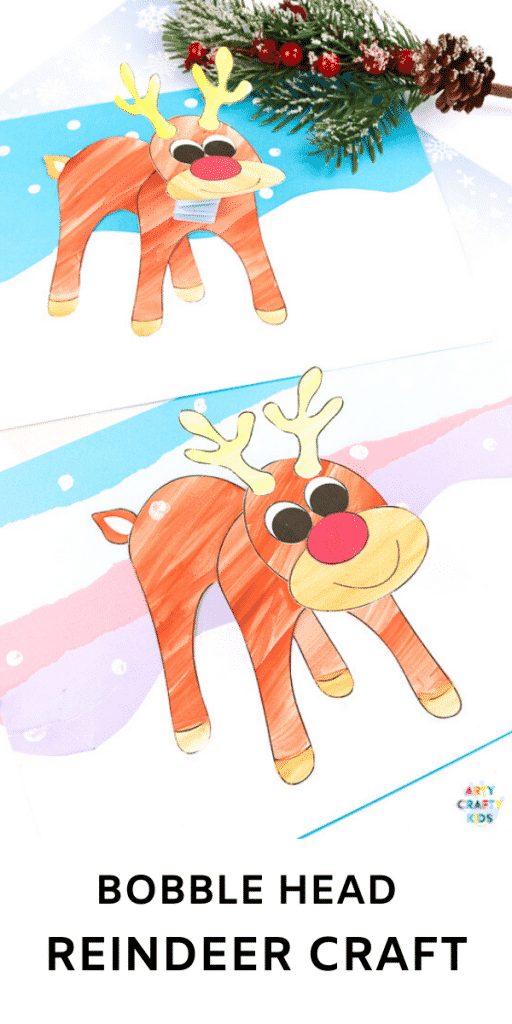Make a Bobble Head Reindeer Craft with the kids this Christmas! A fun and interactive Christmas craft that kids will love - can be completed with a printable reindeer template!