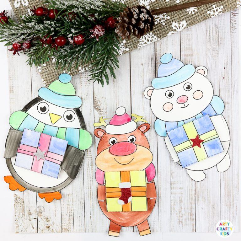 Winter Animal Printable Christmas Cards for kid to make!