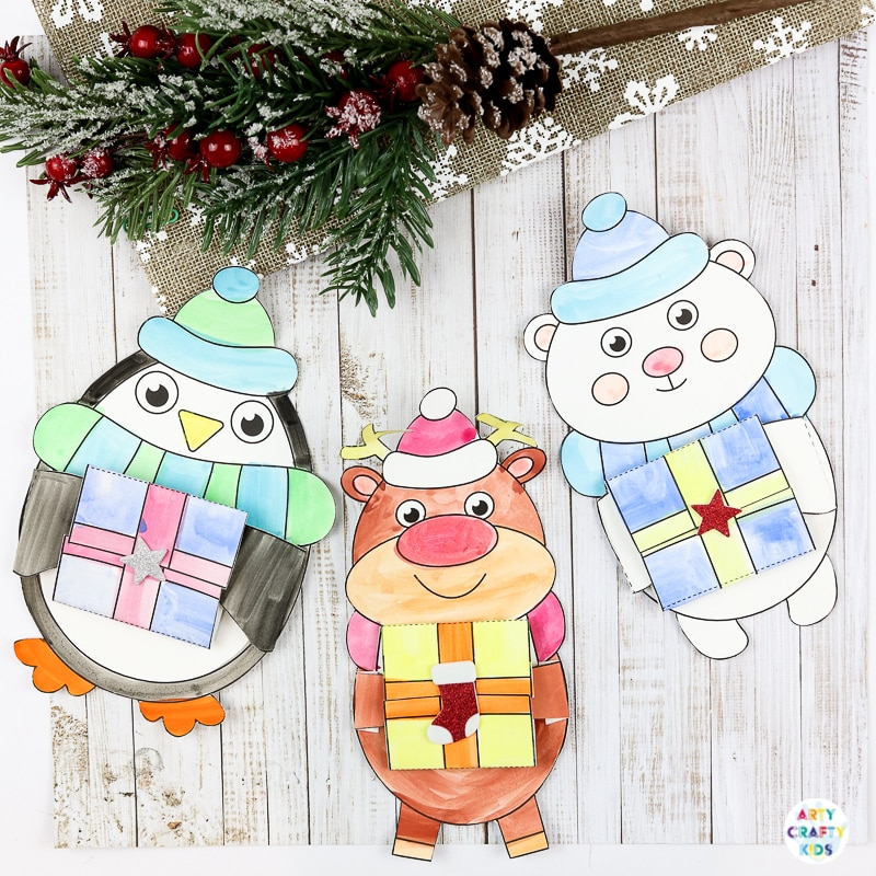 Winter Animal Printable Christmas Cards for kid to make!