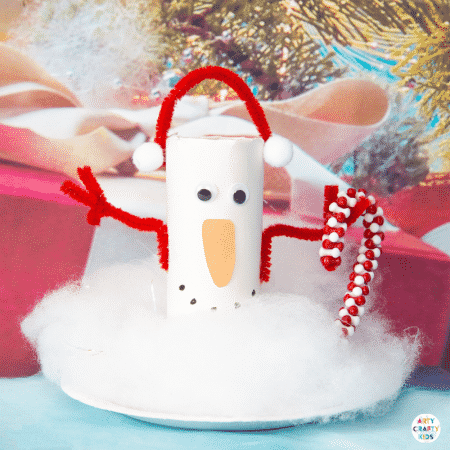 Make a recycled Toilet Paper Roll Snowman craft with the kids. A fun and easy Christmas craft that kids will love!