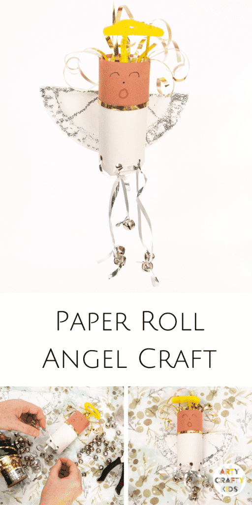 Toilet Paper Roll Angel Christmas Ornament for kids | A delightful and easy Christmas craft for kids that will look amazing hung upon the Christmas Tree.