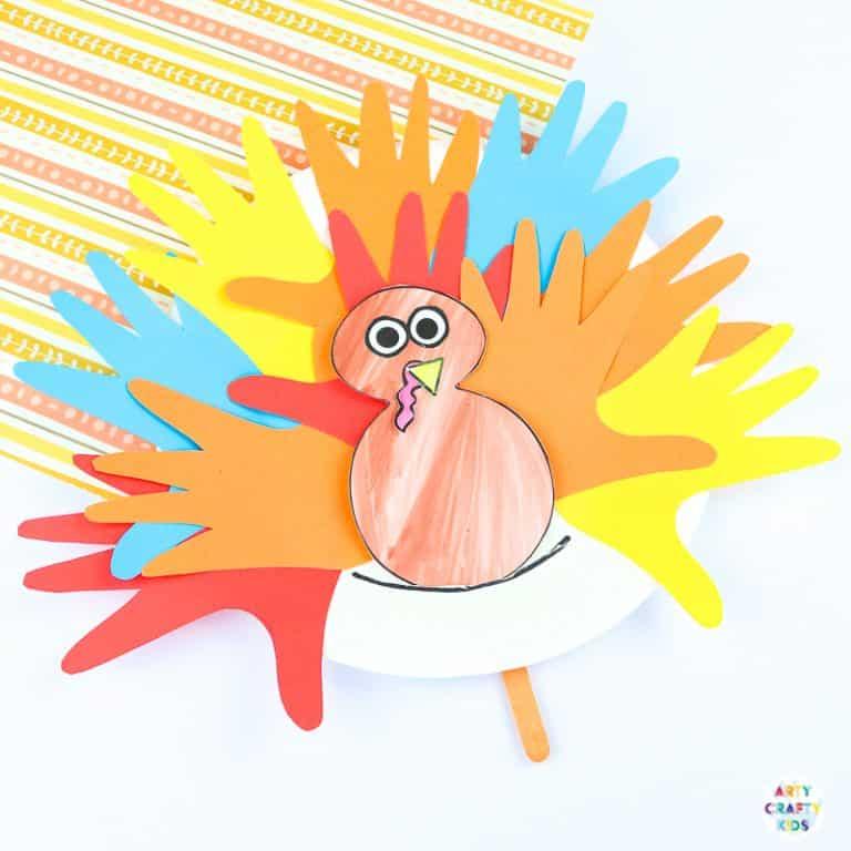 Arty Crafty Kids | Paper Plate Handprint Turkey Craft