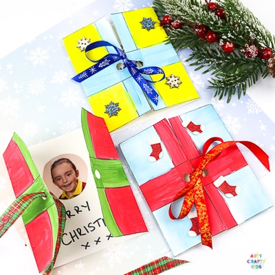 Easy Present Christmas Cards for Kids to Make