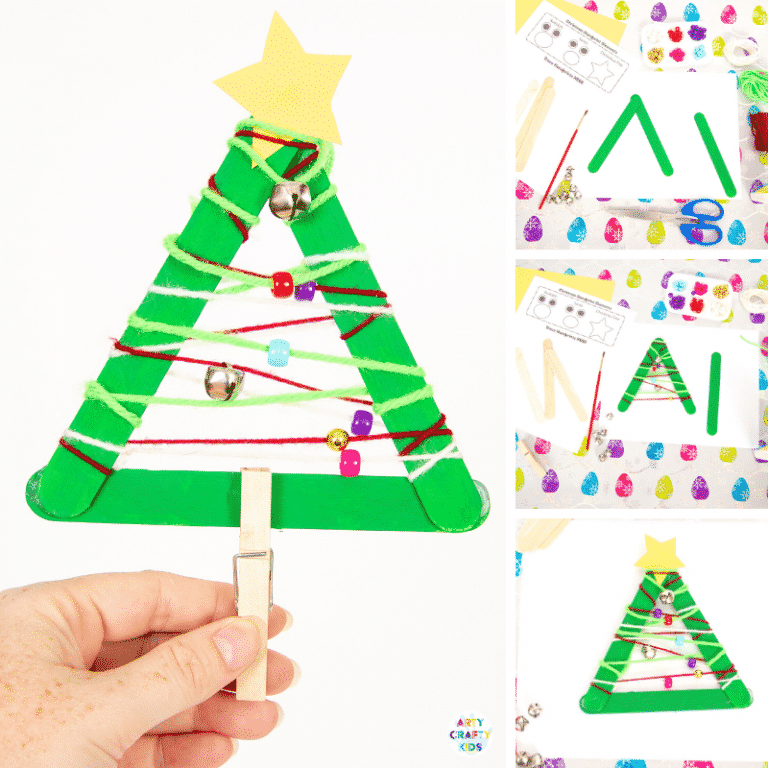 Yarn Wrapped Musical Popsicle Stick Christmas Tree Craft for Kids - Create this easy Christmas Ornament with your kids this Christmas. The Christmas Tree craft doubles up as a jingly musical instrument that will be fun going all day long.
