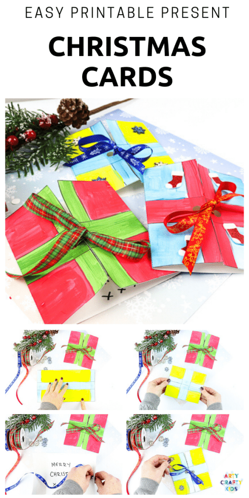 Easy Present Printable Christmas Cards for Kids to make - If you're looking for quick and easy Christmas cards to make with the kids, then this is the Christmas craft for you! Using our printable Christmas Card template -  Children can decorate and make the Christmas cards independently.