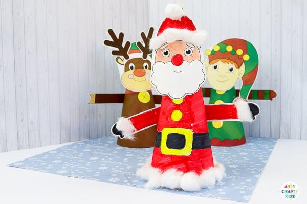 3D Printable Christmas Characters: Easy Christmas Crafts for Kids. A fun Christmas craft for kids to colour and make.