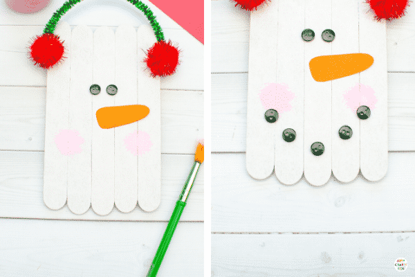 How to Make a Craft Stick Snowman Ornament - An Easy Christmas Crafts for Kids.