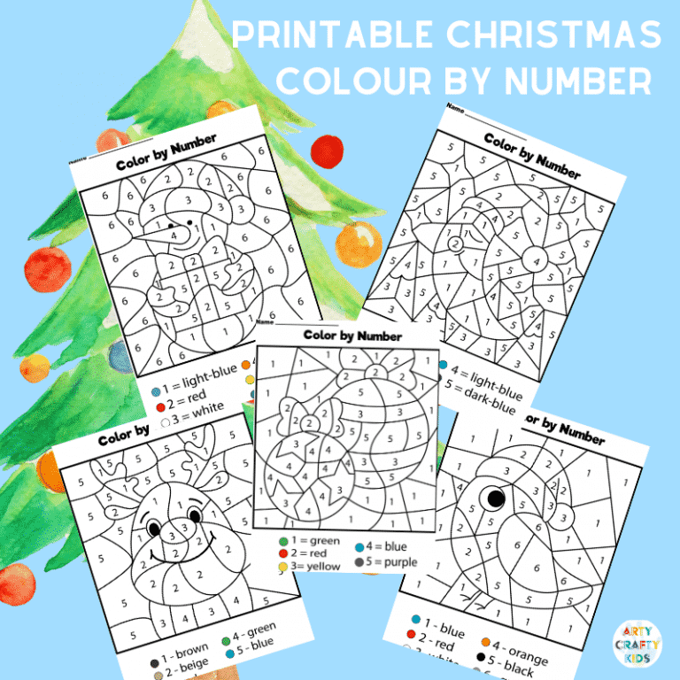 5 Christmas Colour by Number Worksheets