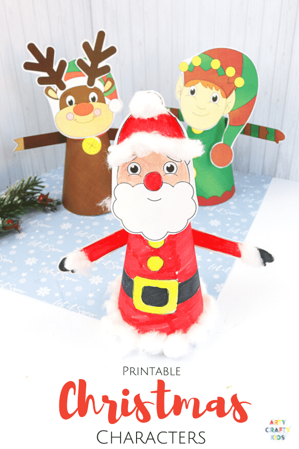 3D Printable Christmas Characters: Easy Christmas Craft for Kids - Choose from Santa Claus, a reindeer or elf to download and print. These festive characters can form part of a Christmas play scene or adapted to make Christmas Ornaments for the Christmas Tree.