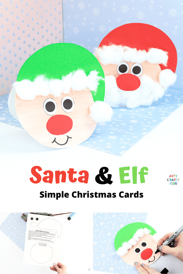 Easy Santa Christmas Card for Kids to make. Use our printable Christmas card template to create a cute Santa Claus card or Elf. This craft is perfect to make with young children from preschool to kindergarten and early years education #artycraftykids #kidscrafts #christmascards
