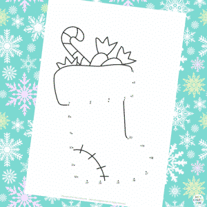 Dot to Dot (1-20) Christmas Stocking Colouring Page