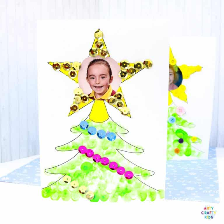 Photo Christmas Tree Card for Kids to Make