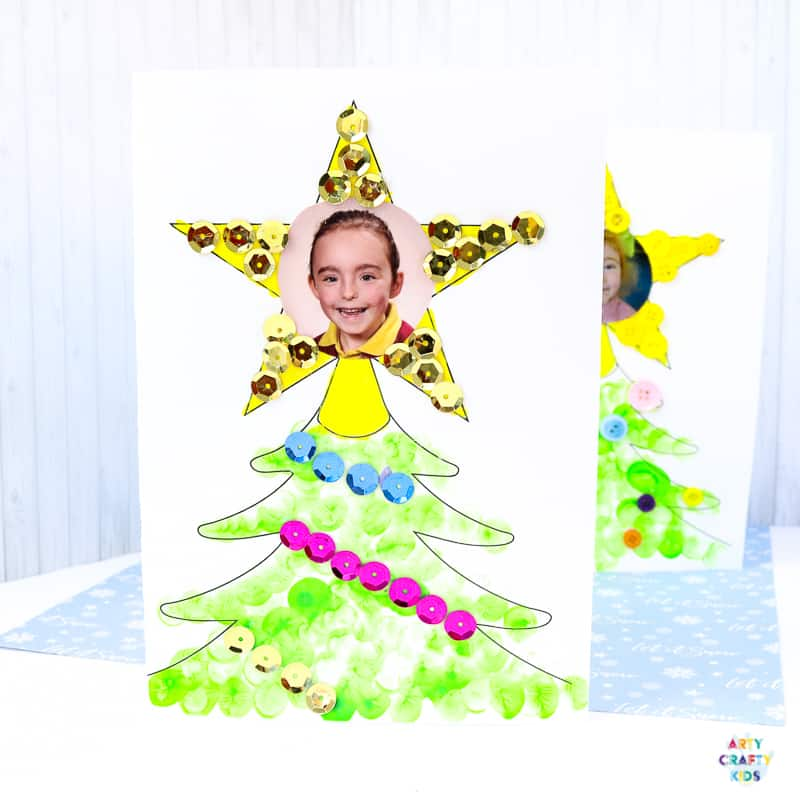 Photo Christmas Tree Card for Kids to Make