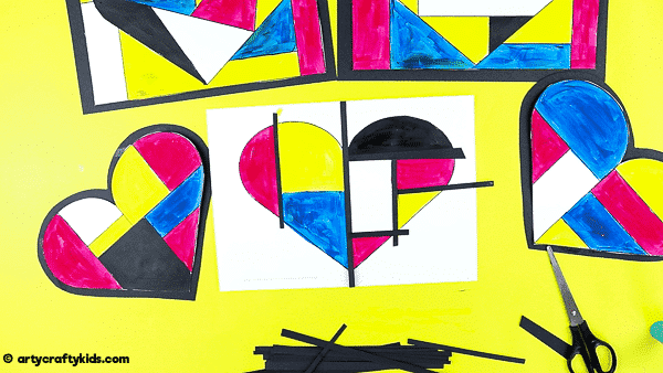 Mondrian Heart Art for Kids - A fun and easy Mondrian Art Project with printable heart templates.