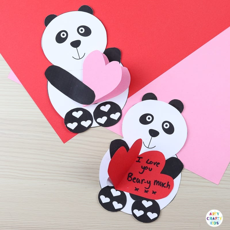 A cute Valentine's Panda Heart Card for Kids to Make