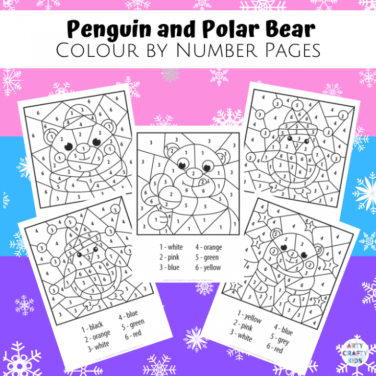 Penguin and Polar Bear Color By Number Worksheets for Kids