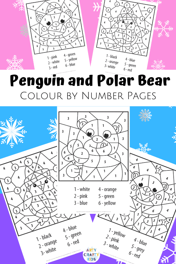 This cute and simply designed collection of  Polar Bear and Penguin Winter Color by Number Worksheets are suitable for children in preschool, early years education and beyond, and are a perfect addition to a Winter lesson plan either at home or at school.