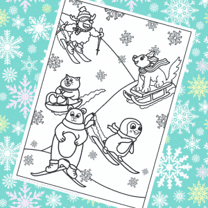 Winter Animals Skiing Colouring Page for Kids
