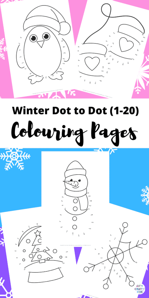 Dot-to-Dot Winter Coloring Pages for Kids (1-20). Enhance number recognition and counting with these fund and engaging Winter themed activity pages - perfect for preschoolers and children in Early Years Education.
