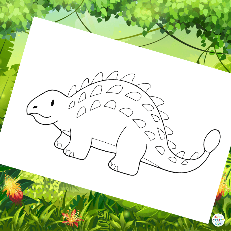 Ankylosaurus Colouring Page Arty Crafty Kids