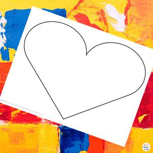 Blank Mondrian Heart Art Template