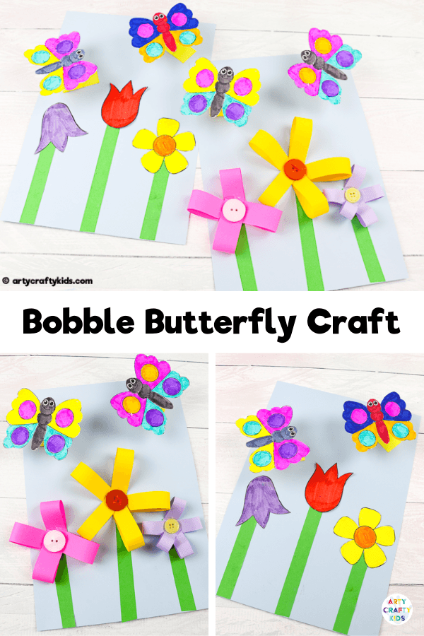 Make a Bobble Butterfly Craft and 3D Spring Flowers with the Kids.  A fun and easy Spring craft that kids will love. The butterfly craft can be completed with our printable butterfly template.