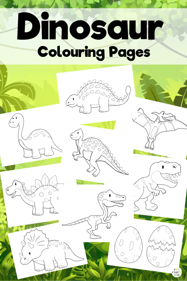 Dinosaur Coloring Pages for Kids. A great tool for identifying and learning the names of dinosaurs. This dinosaur coloring book features 8 popular dinosaurs and a set of dinosaur eggs!