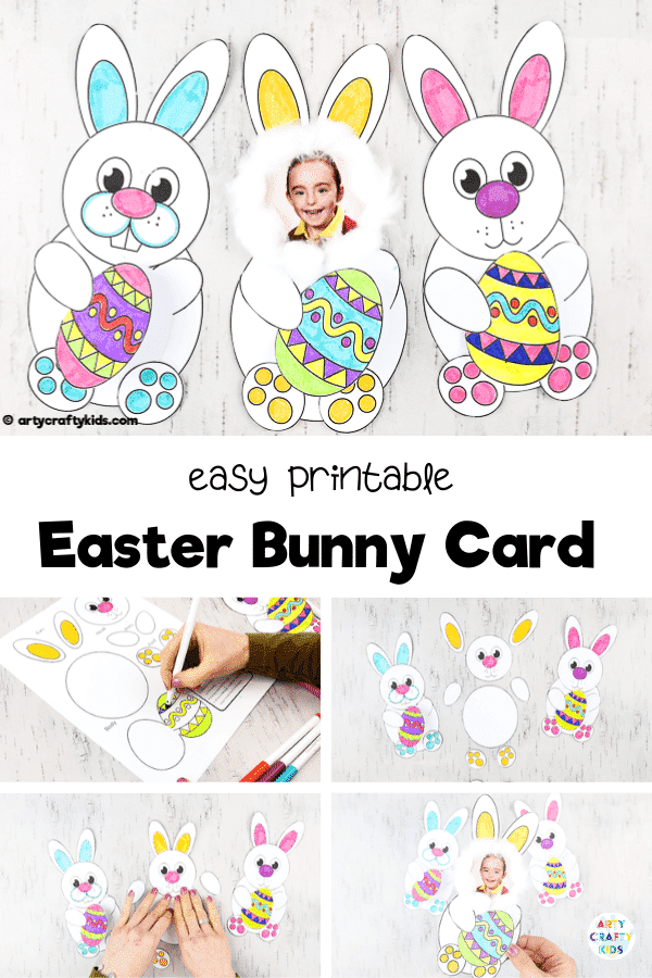 Adorable Easter bunny card for kids to make. The Easter Bunny card can be personalised with a photograph, transforming your child into an Easter bunny. A great Easter card to make for family and friends, and be created with our Easter Bunny Card Templates.