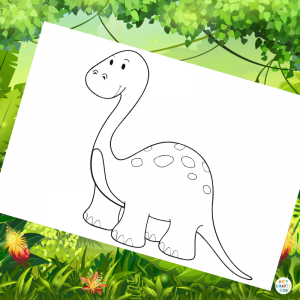 Diplodocus Colouring Page for Kids | Dinosaur Colouring Pages for Kids