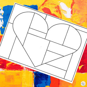Framed Squares and Rectangles Mondrian Heart Art Example 1