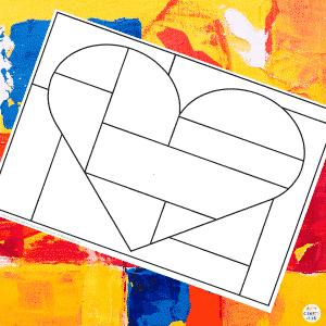 Framed Squares and Rectangles Mondrian Heart Art for Kids