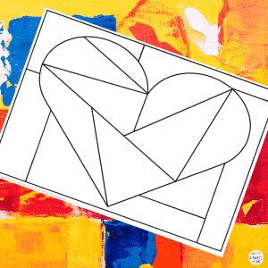 Framed Triangles Mondrian Heart Template