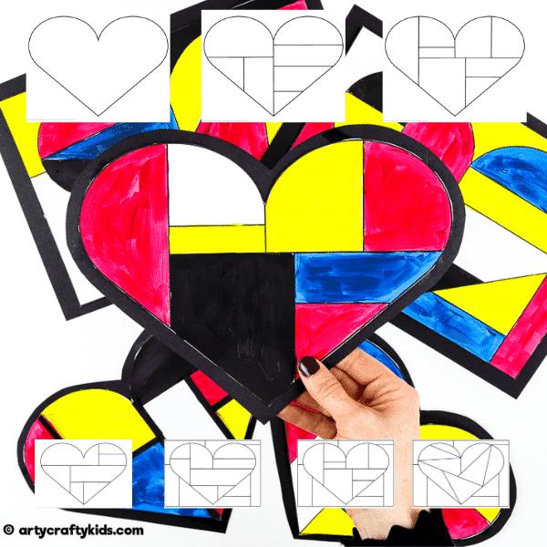 Mondrian Heart Art printable templates.