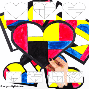 Mondrian Heart Art Template