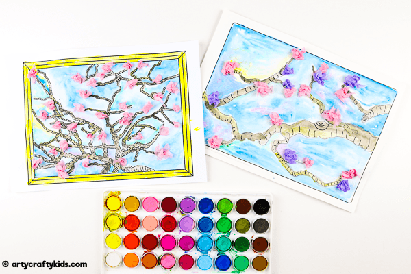 Vincent Van Gogh Inspired Blossom Tree Art for Kids. A fun spring art project kids will love both at home and at school. This artist inspired project can be completed with our collection of blossom tree printable templates.