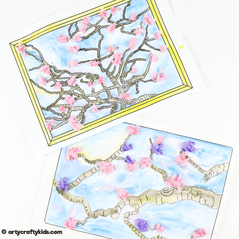 Van Gogh Inspired Blossom Tree Art for Kids