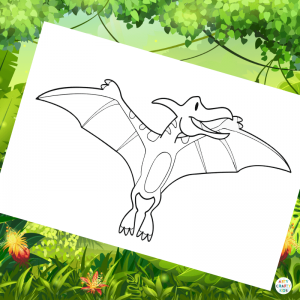 Pterodactyl Coloring Page | Dinosaur Coloring Page for Kids