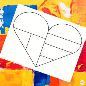 Mondrian Heart Art Example 2