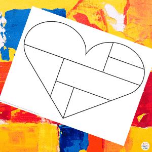 Mondrian Heart Art Template Example 1