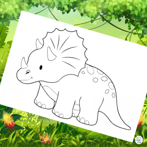 Triceratops Coloring Page for Kids | Dinosaur Coloring Pages for Kids