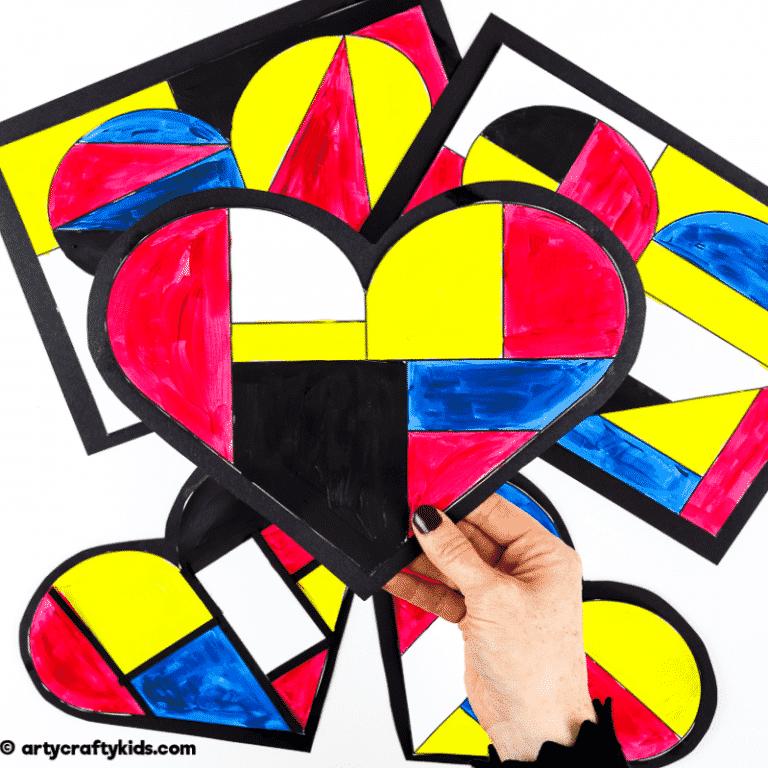 Mondrian Heart Art for Kids - A fun Mondrian inspired art idea for kids.