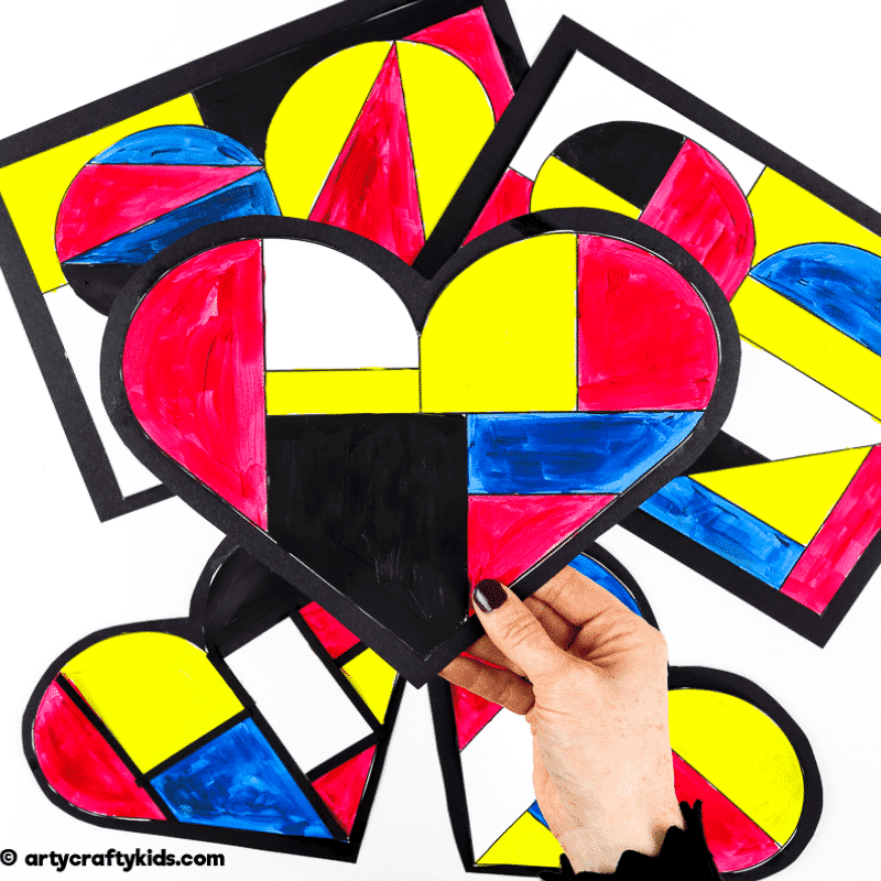 Mondrian Heart Art for Kids - A fun Mondrian inspired art idea for kids.