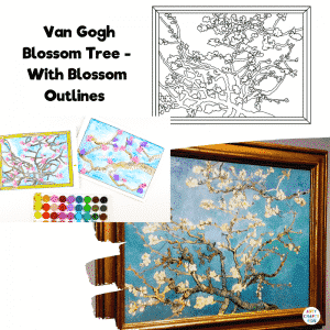 Van Gogh Blossom Tree with Blossom Outlines