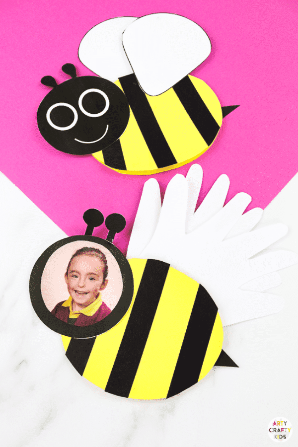 Bee Mother's Day card for kids to make this Mother's Day or Father's Day. An easy Mother's Day craft for kids that can be personalised with handprints and a photo!