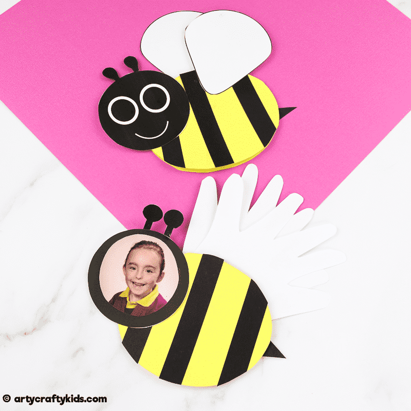Bee Mother's Day Card for Kids to Make. Can be adapted for Father's day and birthdays. Easy to make, with a bee template available for download.