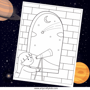 Star Gazing Coloring Page for Kids